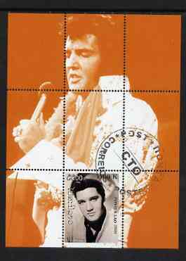 Laos 2000 Elvis Presley perf deluxe sheet #01 (orange background) cto used