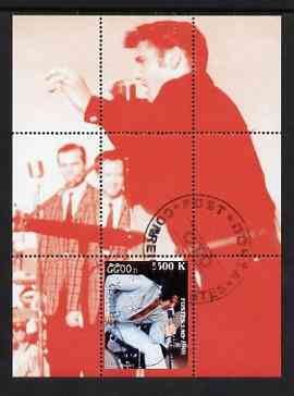 Laos 2000 Elvis Presley perf deluxe sheet #02 (red background) cto used