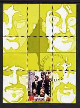 Laos 2000 The Beatles perf deluxe sheet #01 (yellow background) cto used