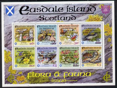Easdale 1991 65th Birthday of Queen Elizabeth overprinted on Flora & Fauna perf sheetlet containing complete set of 8 values (26p to \A35) unmounted mint