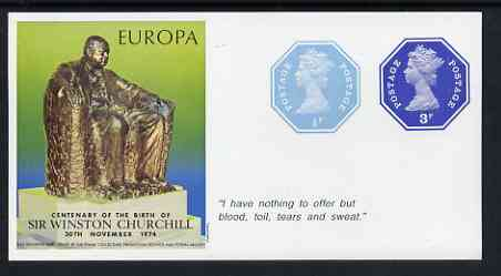Cinderella - Great Britain 1974 Europa Souvenir Sheet Celebrating Birth of Sir Winston Churchill with 1/2p & 3p octagonal postally valid stamps, with quotation 'I have nothing to offer ...' unmounted mint