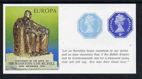 Cinderella - Great Britain 1974 Europa Souvenir Sheet Celebrating Birth of Sir Winston Churchill with 1/2p & 3p octagonal postally valid stamps, with quotation 'This was their finest hour' unmounted mint