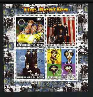 Benin 2003 The Beatles perf sheetlet containing set of 4 values each with Rotary International Logo cto used