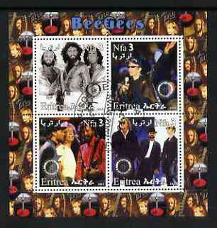 Eritrea 2003 The Bee Gees perf sheetlet containing set of 4 values each with Rotary International Logo cto used