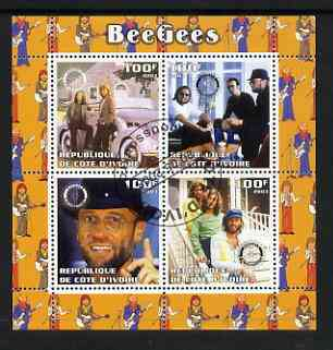 Ivory Coast 2003 The Bee Gees perf sheetlet containing set of 4 values each with Rotary International Logo cto used