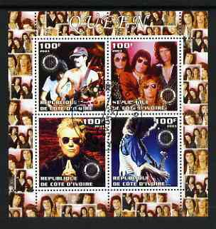 Ivory Coast 2003 Queen (pop group) perf sheetlet containing set of 4 values each with Rotary International Logo cto used