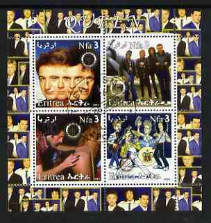Eritrea 2003 Queen (pop group) #1 perf sheetlet containing set of 4 values each with Rotary International Logo cto used
