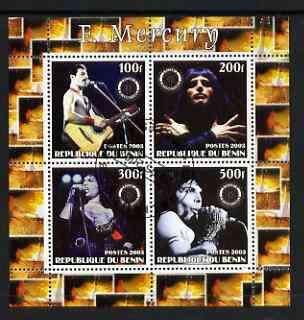 Benin 2003 Freddie Mercury (Queen pop group) perf sheetlet containing set of 4 values each with Rotary International Logo cto used