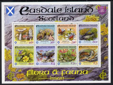 Easdale 1988 Flora & Fauna definitive perf sheetlet containing complete set of 8 values (26p to \A35) each overprinted SPECIMEN superb unmounted mint