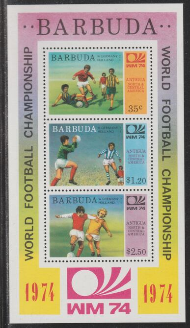 Barbuda 1974 World Cup Football Winners perf m/sheet (unissued with names of teams) unmounted mint