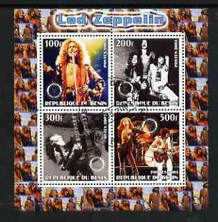 Benin 2003 Led Zeppelin perf sheetlet containing set of 4 values each with Rotary International Logo cto used