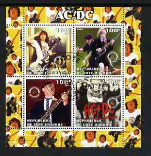 Ivory Coast 2003 AC/DC #1 perf sheetlet containing set of 4 values each with Rotary International Logo cto used