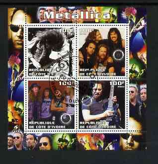 Ivory Coast 2003 Metallica perf sheetlet containing set of 4 values each with Rotary International Logo cto used, stamps on personalities, stamps on entertainments, stamps on music, stamps on pops, stamps on rotary, stamps on rock