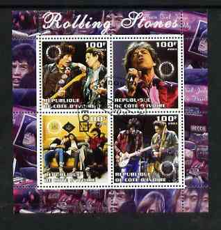 Ivory Coast 2003 Rolling Stones perf sheetlet containing set of 4 values each with Rotary International Logo cto used