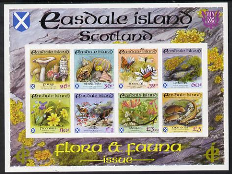 Easdale 1988 Flora & Fauna definitive imperf sheetlet containing complete set of 8 values (26p to \A35) superb unmounted mint