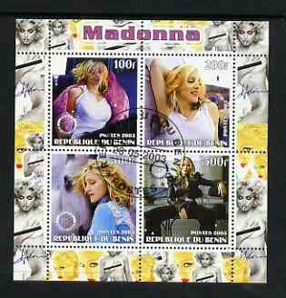 Benin 2003 Madonna #2 perf sheetlet containing set of 4 values each with Rotary International Logo cto used