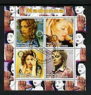 Ivory Coast 2003 Madonna perf sheetlet containing set of 4 values each with Rotary International Logo cto used