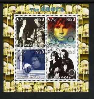 Eritrea 2003 The Doors (pop group) perf sheetlet containing set of 4 values each with Rotary International Logo cto used