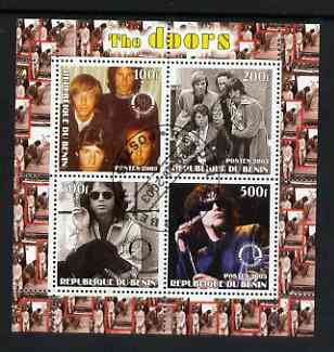 Benin 2003 The Doors (pop group) #2 perf sheetlet containing set of 4 values each with Rotary International Logo cto used
