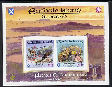 Easdale 1988 Flora & Fauna definitive imperf sheetlet containing 36p (shell) & \A31 (Birds) unmounted mint