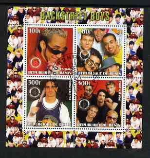 Benin 2003 Backstreet Boys perf sheetlet containing set of 4 values each with Rotary International Logo cto used