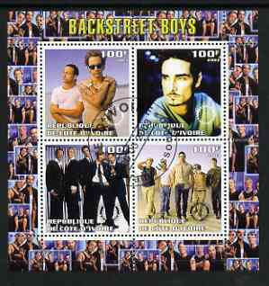 Ivory Coast 2003 Backstreet Boys perf sheetlet containing set of 4 values each with Rotary International Logo cto used