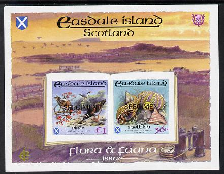 Easdale 1988 Flora & Fauna definitive imperf sheetlet containing 36p (shell) & \A31 (Birds) each overprinted SPECIMEN unmounted mint