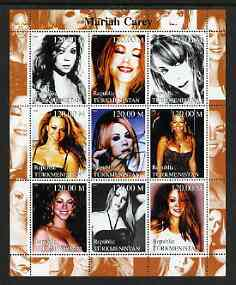 Turkmenistan 2000 Mariah Carey perf sheetlet containing 9 values unmounted mint