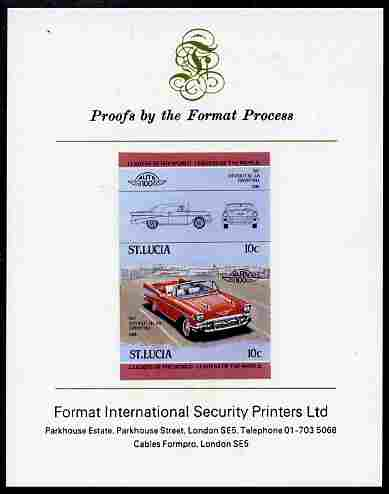 St Lucia 1984 Cars #1 (Leaders of the World) 10c Chevrolet Bel Air 1957 imperf se-tenant proof pair mounted on Format International proof card