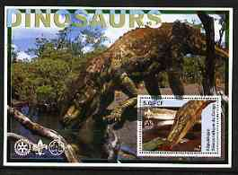Congo 2002 Dinosaurs #05 perf s/sheet (also showing Scout, Guide & Rotary Logos) fine cto used