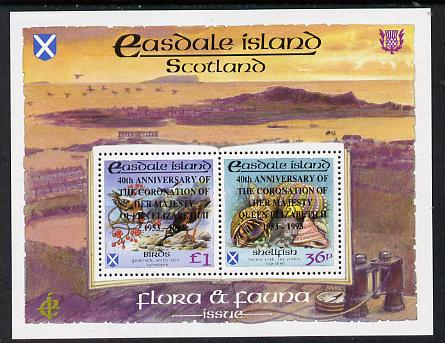 Easdale 1993 40th Anniversary of Coronation overprinted in black on Flora & Fauna perf sheetlet containing 36p (shell) & \A31 (Birds) unmounted mint