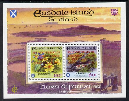 Easdale 1993 40th Anniversary of Coronation overprinted in red on Flora & Fauna perf sheetlet containing 60p (Lichens) & 80p (Spring Flowers) unmounted mint