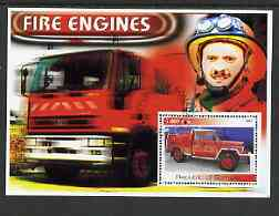 Somalia 2002 Fire Engines #1 perf s/sheet fine cto used (Image shows Col Evegeny Chernyshov, Chief of Moscow City Fire Department, recently awarded National Hero Star)