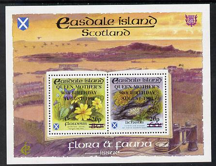 Easdale 1990 90th Birthday of Queen Mother overprinted on Flora & Fauna perf sheetlet containing 20p on 60p (Lichens) & 20p on 80p (Spring Flowers) unmounted mint