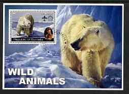 Somalia 2002 Wild Animals #02 (Polar Bears) perf s/sheet (also showing Baden Powell and Scout & Guide Logos) fine cto used