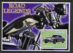 Afghanistan 2001 Road Legends perf m/sheet (Mercedes Car & Cotton motorcycle) fine cto used, stamps on motorbikes, stamps on cars