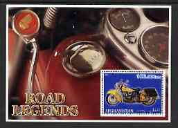 Afghanistan 2001 Road Legends perf m/sheet (Indian motorcycle) fine cto used