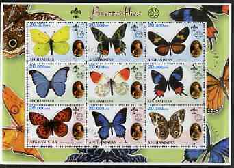 Afghanistan 2001 Butterflies perf sheetlet containing 9 values (also showing Baden Powell and Scout & Guide Logos) fine cto used