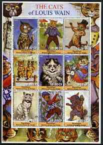 Congo 2002 The Cats of Louis Wain perf sheetlet containing 9 values fine cto used