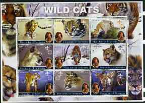 Somalia 2002 Wild Cats perf sheetlet containing set of 9 values (also showing Baden Powell and Scout & Guide Logos) fine cto used
