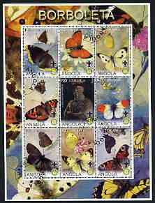 Angola 2000 Butterflies perf sheetlet #02 containing set of 9 values each with Rotary & Scouts Logos, fine cto used