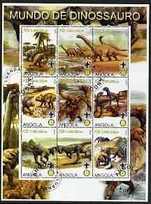 Angola 2000 Dinosaurs perf sheetlet containing set of 9 values each with Rotary & Scouts Logos, fine cto used