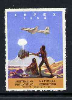 Australia 1959 Anpex '59 (Australian National Philatelic Exhibition) label showing airplane flying over Aborigines (mounted)