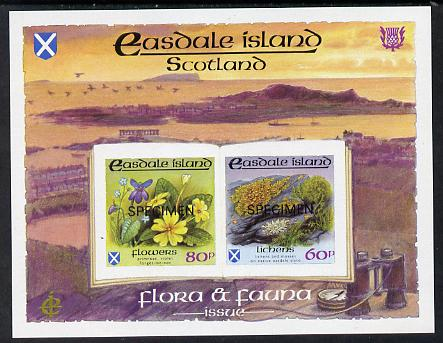 Easdale 1988 Flora & Fauna definitive imperf sheetlet containing 60p (Lichens) & 80p (Spring Flowers) overprinted SPECIMEN unmounted mint