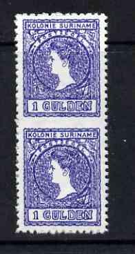 Surinam 1907 Wilhelmina 1g vert pair imperf between being a