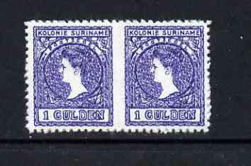 Surinam 1907 Wilhelmina 1g horiz pair imperf between being a