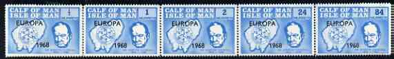 Calf of Man 1968 Europa 1968 opt'd on Churchill perf 14.5 set of 5 in light blue (as Rosen CA111-15) unmounted mint