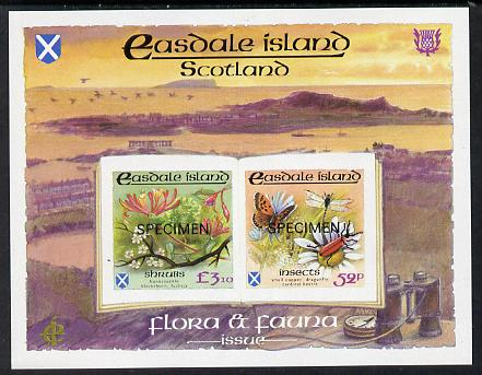 Easdale 1988 Flora & Fauna definitive imperf sheetlet containing 52p (Butterfly & Insects) & .10 (Shrubs) overprinted SPECIMEN unmounted mint