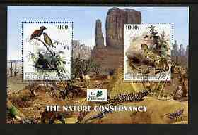 Benin 2003 The Nature Conservancy perf m/sheet containing 2 x 1000f values (birds & cats by John Audubon) fine cto used