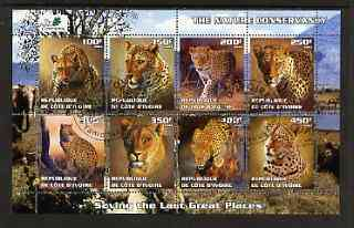 Ivory Coast 2003 The Nature Conservancy perf sheetlet containing set of 8 values (big cats) fine cto used, stamps on wildlife, stamps on cats, stamps on environment, stamps on